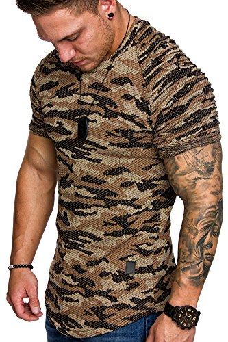 Amaci&Sons Oversize Camouflage Vintage Herren Biker-Style Shirt Sweatshirt Crew-Neck 6021 Camouflage Beige M