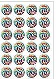 24vorgeschnittenen Alter 70Siebzigsten Seventy 70. Geburtstag Essbar Wafer Papier Kuchen Topper Dekorationen