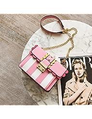 Mujeres rayas Color Bloqueo cadena pequeña bolsa de Hombro cuadrado bolsa de mensajero rosado