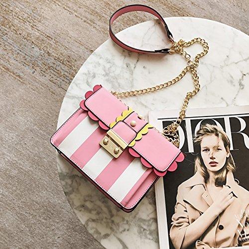 Weibliche streifen farbe verschluss Kette kleine quadratische tasche Schulter messenger bag Rosa