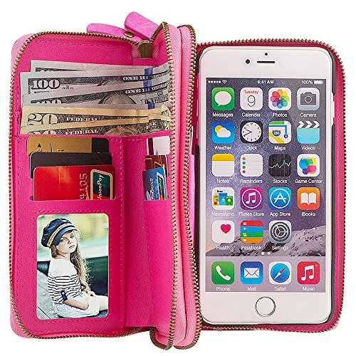 Preisvergleich Produktbild Apple iPhone 5/5S/SE Leder Hülle Flip Case Handytasche und Brieftasche mit Standfunktion Kredit Karten Fach mit Unsichtbarem Magnet, Pink