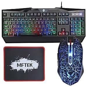 MFTEK USB LED arcobaleno Color Design luminoso Gaming Tastiera Keyboard illuminata e mouse insieme combinato per il computer portatile Gamers desktop Lavorare con Mouse Pad (13 Inch* 9 Inch)
