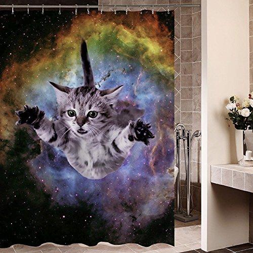 Funny Cat Wasserdicht Duschvorhang 100% Polyester 182,9x 182,9cm, (Star Theme Chrome Wars)