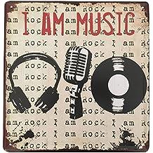 Cartel metálico Ipekoo «I am music» de hojalata, envejecido, retro, cartel para pared metálico de hojalata, vintage, estilo pub
