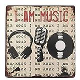 Cartel metálico Ipekoo «I am music» de hojalata, envejecido, retro, cartel para pared metálico de...