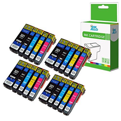 InkJello Compatibile Inchiostro Cartuccia Sostituzione Per Epson XP510 XP520 XP600 XP605 XP610 XP615 XP620 XP625 XP700 XP710 XP720 XP800 XP810 XP820 26XL (Nero/Foto-Nero/Ciano/Magenta/Giallo, 20-Pack)