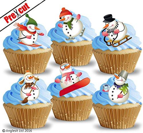 vorgeschnittenen Funny Schneemänner essbarem Reispapier/Waffel Papier Cupcake Kuchen Topper Geburtstag Weihnachten Winter Party Urlaub Dekorationen