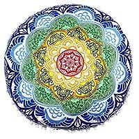 Viahwyt Super Soft Meditation Cushion Cover Indian Mandala Round Floor Pillows Bohemian Throw Pillow Cases Room Sofa Home Decor 43x43 (L)