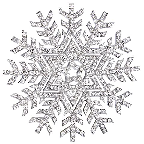 Ever Faith Silver-Tone Austrian Crystal Elegant Christmas Snowflake Star Brooch Pin Clear N06877-1 - Spilla Stella Pin