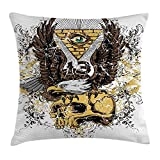 Trsdshorts Tattoo Decor Throw Pillow Cushion Cover, American Eagle Wings Wide Open Top of Skull Carrying Brick Wall with Eye, Decorative Square Accent Pillow Case, 16 X 16 inches, Brown and White