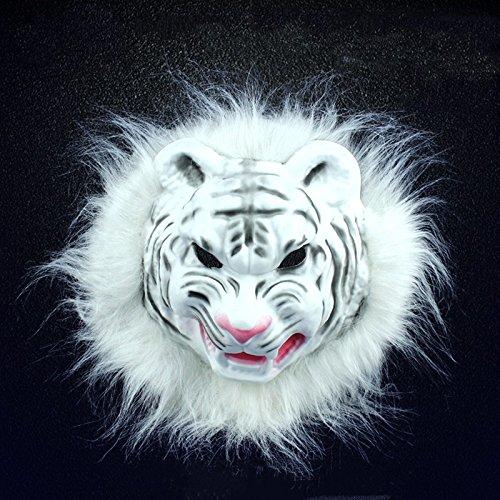 Kostüm Maskerade gruselige Party Halloween Horror Maske Savage Narbe PVC-Tier Maske, Tiger, Weiß, Breite 20 cm Höhe 22 (Tiger Maskerade Maske)