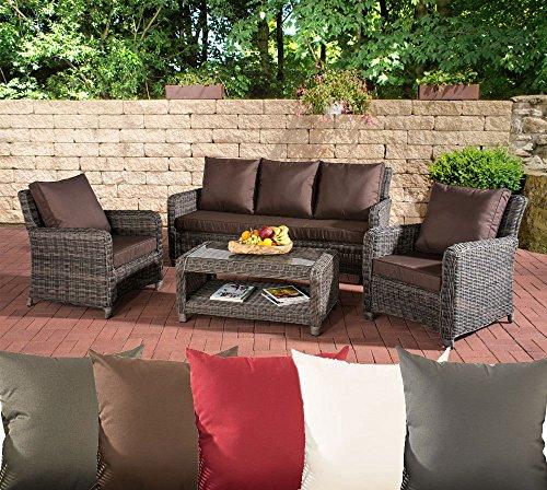 CLP Gartengarnitur San Fernando | Sitzgruppe mit 7 Sitzplätzen | Gartenmöbel-Set aus Polyrattan | in Verschiedenen Farben erhältlich Rattan Farbe Grau-Meliert, Bezugfarbe: Terrabraun