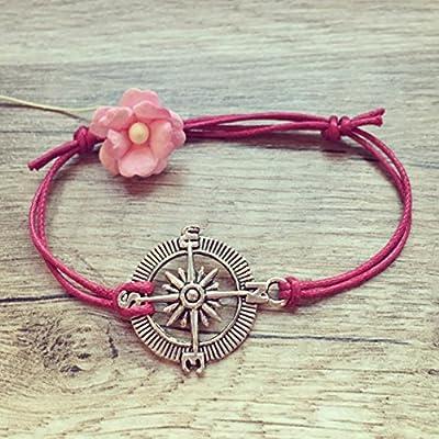 Bracelet Boussole en Rose Vif Argent Ajustable, vintage / ethno / hippie / must-have / statement / bijoux florabella