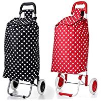 Set of 2 Hoppa 23inch 2 Wheel Lightweight Wheeled Shopping Trolley Shopper Cart, Large 47L (Polka Dots Black +Red)
