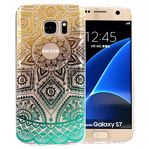 Samsung Galaxy S7 Hülle, JIAXIUFEN Weiß Marmor Serie Flexible TPU Silikon Schutz Handy Hülle Handytasche HandyHülle Etui Schale Case Cover Tasche Schutzhülle für Samsung Galaxy S7 Color29