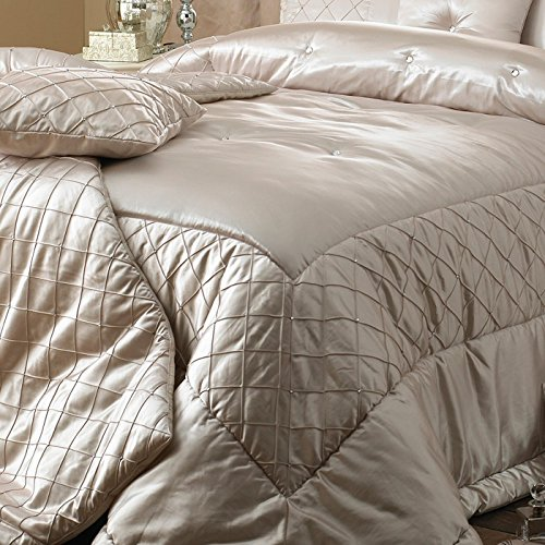 Elegance Bedroom Couture Cristal Duchess Satin Bedspread Set, Silver, 275 x 275