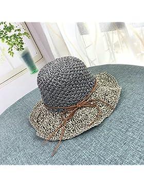 LVLIDAN Sombrero para el sol del verano Lady Anti-sol Gran cara ancha playa gris sombrero de paja