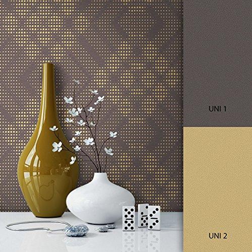 NEWROOM Tapete Braun Geometrisch Karos Grafik Vliestapete Gold Vlies moderne Design Optik Tapete Modern inkl. Tapezier Ratgeber