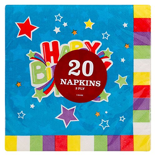 oder Happy Birthday Kinder Pappteller/Schüsseln/cups- Party/Geburtstag, 20x Happy Birthday Napkins- Design at Random, 20 (Weihnachten-kunststoff-cups)