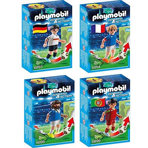 Preisvergleich Produktbild PLAYMOBIL® Sports & Action Fußball 4er Set 6893 6894 6895 6899 Fußballspieler Deutschland, Frankreich, Italien & Portugal