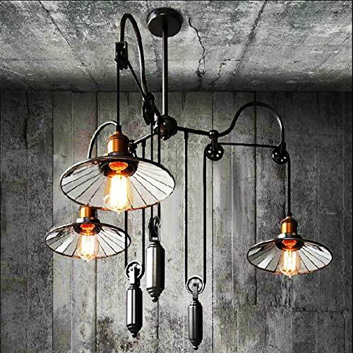 HXZ Postmoderne Industriekünste/Metall rustikale Schwarze schmiedeeiserne Lampe, 360-Grad-Riemenrockner Kronleuchter 3 Flammenleuchter, Dachrestaurant Balkon-Balkleidung in der Beleuchtung E27 (Rustikale Schmiedeeiserne Lampen)