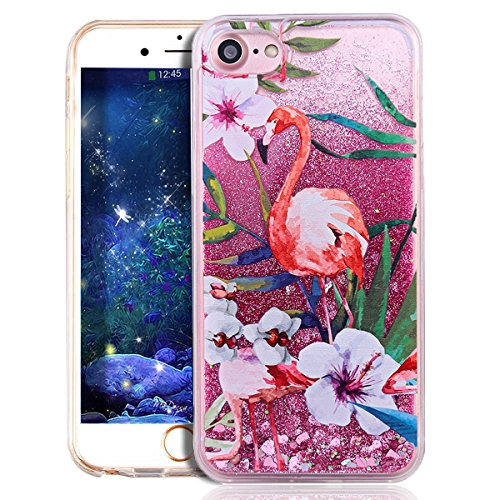 iPhone 7 Case for Girls,iPhone 7 Coque Anti chock Plastic Liquide Coque Bling Flash Etui Case Cover pour iPhone 7 4.7 Pouce,iPhone 7 Coque Transparente,iPhone 7 Coque Bling Diamant Cœur Etui Housse Co Flamingo 2