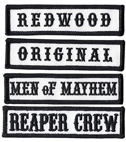 Outlaw-Anarchy-Reaper-Crew-Nero-Biker-Giacca-anteriore-auditore-titolo-set-da-4