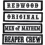 Negro Reaper Crew Outlaw Anarchy Biker frontal de chaleco Chaqueta oficial Título Patch Set de 4
