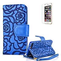 For iPhone 7 Case 4.7inch Cover [with Free Screen Protector], Funyye Elegant Premium Folio PU Leather Wallet Magnetic Flip Cover with [snap fastener] and [Credit Card Holder Slots] Stand Function Book Type Stylish Rose Printting Designs Full Protection Holster Case Cover Skin Shell for iPhone 7-Blue