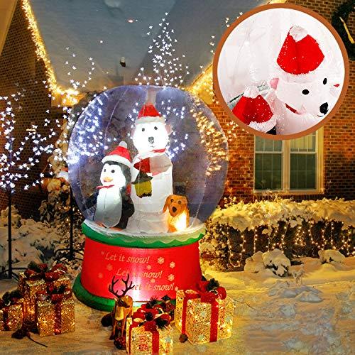 CCLIFE Led selbstschneiender Schneemann mit Schneefall Beleuchtet Aufblasbar snowman outdoor Schneiender Weihnachtsbeleuchtung weihnachtsdeko Weihnachtsfigur