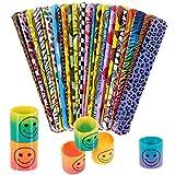 INTVN Mini Smiley Springs Smile Molla Arcobaleno Giocattolo Primavera & Braccialetti Slap Wrist Bands Party Bag Fillers per Bambini, 24 Sets