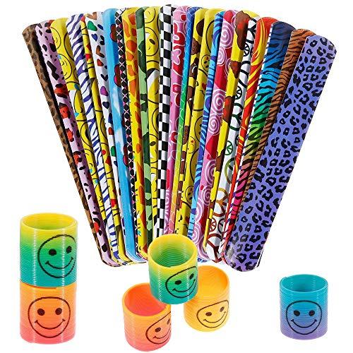 INTVN Schnapparmbänder klatscharmband Kinder Schnapparmband & Springs Magic Regenbogenspirale Puzzle Lernspielzeug für Mitgebsel Kindergeburtstag Party, 24 Sets