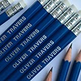 12 HB Graphite Pencils Personalised with Name Printed in Silver (Navy)