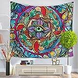 GWELL Wandteppich Psyschedelic Art Wandbehang Bohemian Hippie Tischdecke Tapestry Strandtuch Wandtuch Zimmer Deko Muster-B 150 * 130cm