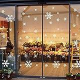 135 Fensterbilder für Weihnachten ,Schneeflocken mit Fensterdeko -Statisch Haftende PVC Aufklebe