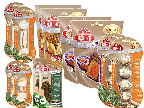 8in1 Snack Pack, Snacks und Kauartikel von 8in1, für Hunde Mix Paket by Zoolox (R) Größe 12 Snacks/Kauartikel
