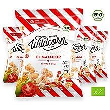 Wildcorn - salziges Popcorn - Tomate Chili (4x50g)   gesunder Snack   leckere Alternative zu Chips   Superfood für Büro, Unterwegs, Kino   vegan   100% Bio   ohne Zuckerzusatz   glutenfrei   Healthy Food   El Matador