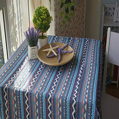Preisvergleich Produktbild CFWL Tischdecke Baumwolle Tischdecke Stil Bohémien Tischdecke Weiß Oval Tischdecke Weiß und Blau Tischdecke 90 * 140cm blau
