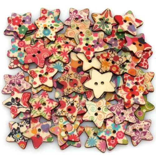 Sternförmige Holzknöpfe mit verschiedenen gemalten Artwork ideal für Scrapbooking, Kinder, Projekte und andere Künste & Handwerk. 25 x 25 mm (Packung mit 25)