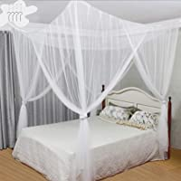 Digead Mosquito Net , Four-Door Mosquito Net/Bed Canopy , Hanging Bed Canopy Netting , Universal Square Mosquito Net for All Size Bed - White