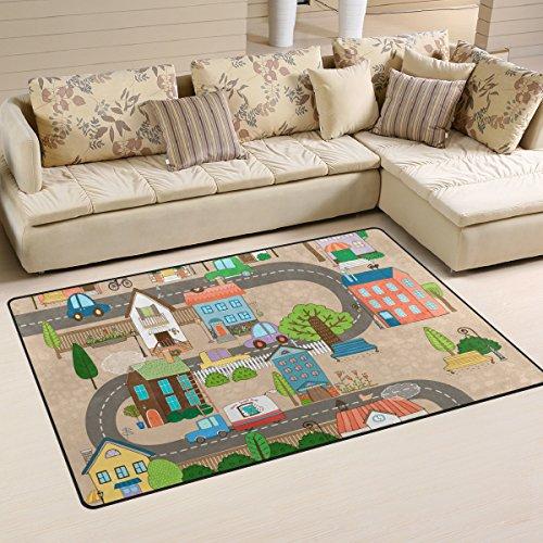 JSTEL INGBAGS Super Weicher, Moderner Teppich in der Stadt oder auf der Straße, Wohnzimmerteppich für Kinder, Spielteppich und Teppiche, 79 x 51 cm, Multi, 60 x 39 inch (Für Stadt-teppich Kinder)