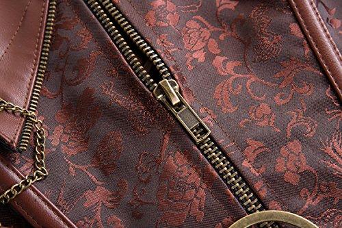MISS MOLY Donna Corsetto Gothic Steampunk Vintage con barre in acciaio broccati Bustino nero marrone Marrone