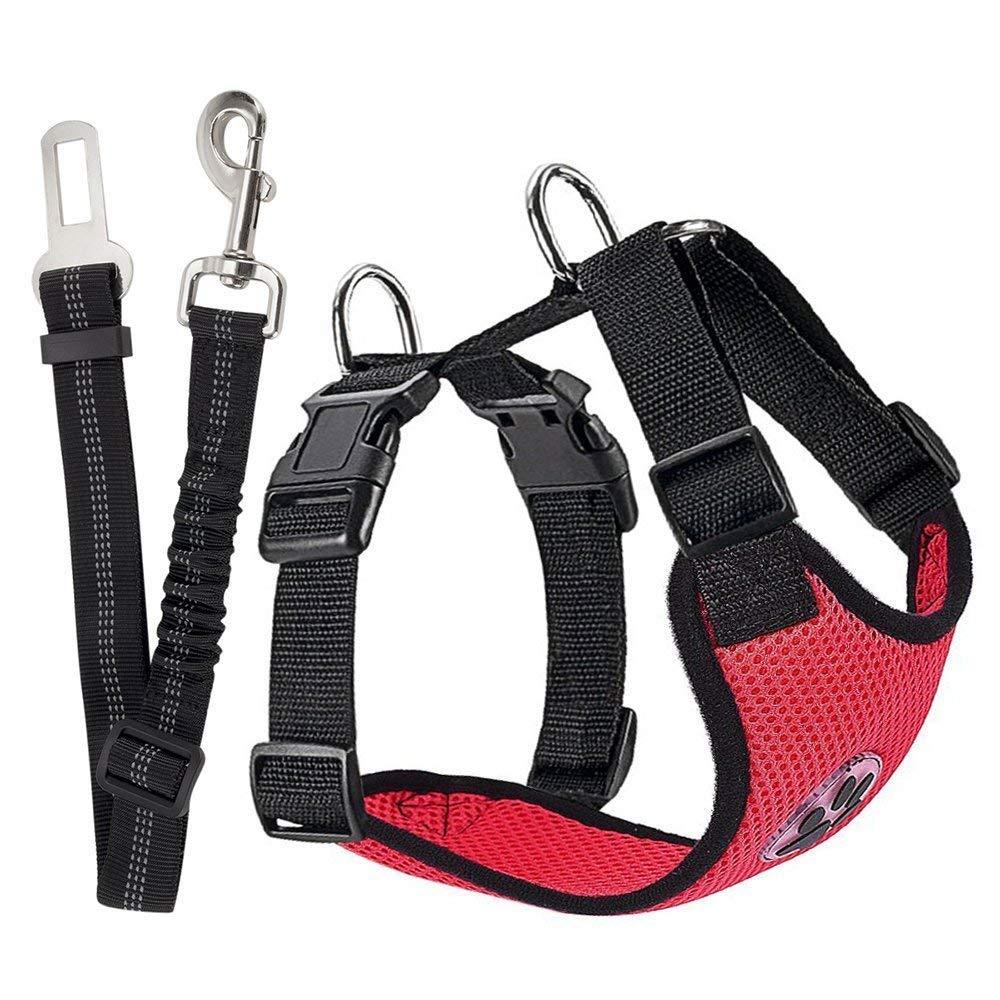 SlowTon Arnés de seguridad para perro, cinturón de seguridad, cinturón de seguridad, correa elástica ajustable y forro de tela transpirable en el vehículo