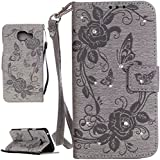 PQ-MALL Coque Samsung Galaxy A3 (2016),Bling Bling Gris Etui Housse (Gaufrage) Pour Samsung Galaxy A3 (2016) SM-A310F Récompense: Récompense:stylet inclus X1