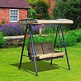 Balancelle de jardin 2 places grand confort coussins d'assise et dossier fournis accoudoirs pare-soleil sable 91