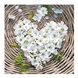 20 Servietten 33 x 33 cm LUNCH. Herz aus Blüten, weiß auf braun. MADE WITH LOVE