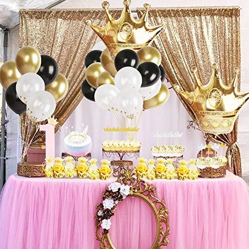foci cozi Gold Krone Party Dekoration Kit Gold Crown Pouch, Folie und Latex Luftballons, Crown Cake Topper für Geburtstag, Bachelorette, Hochzeit Bevorzugungen Lieferungen