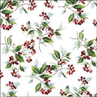 Ambiente de Navidad servilletas 33cm invierno follaje holly berry servilletas
