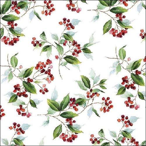 Ambiente Weihnachten Serviette 33 cm Winter Blattwerk Holly Berry Servietten Holly Berry