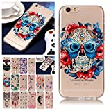 V-Ted Coque Apple iPhone 7 Plus 8 Plus Tete de Mort Fleur Silicone Ultra Fine Mince Bumper Housse Etui Cover Transparente avec Motif Dessin Antichoc Incassable